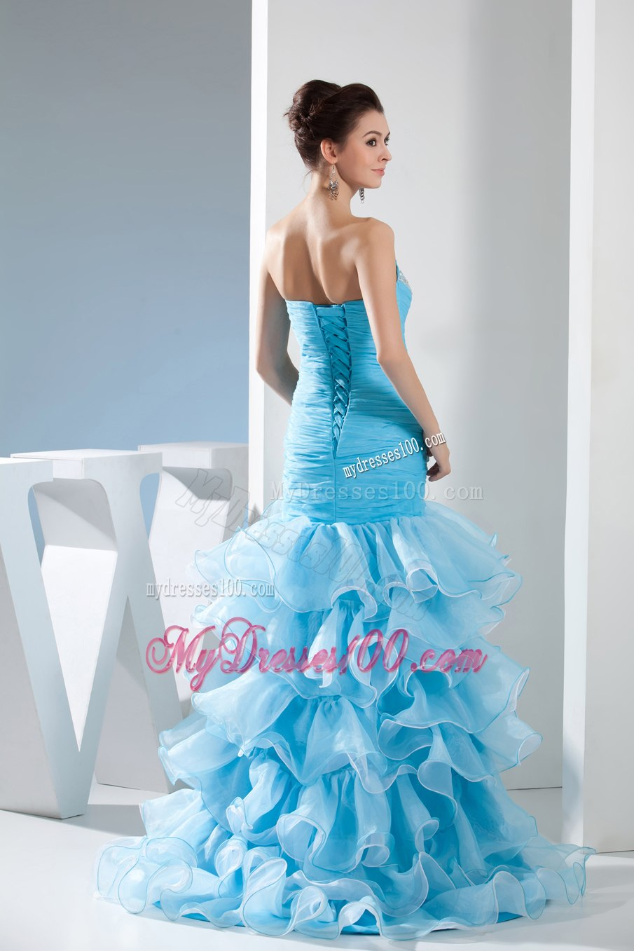 Mermaid Sweetheart High-low Aqua Blue Celebrity Dresses