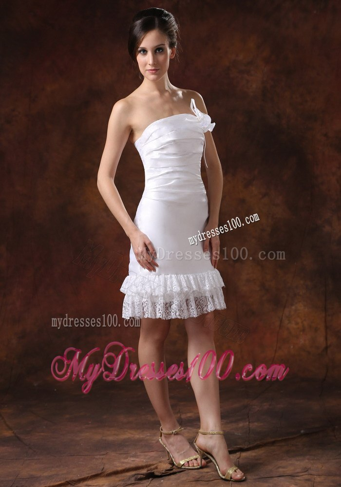 Affordable strapless knee length column lace beach wedding for Knee length beach wedding dresses