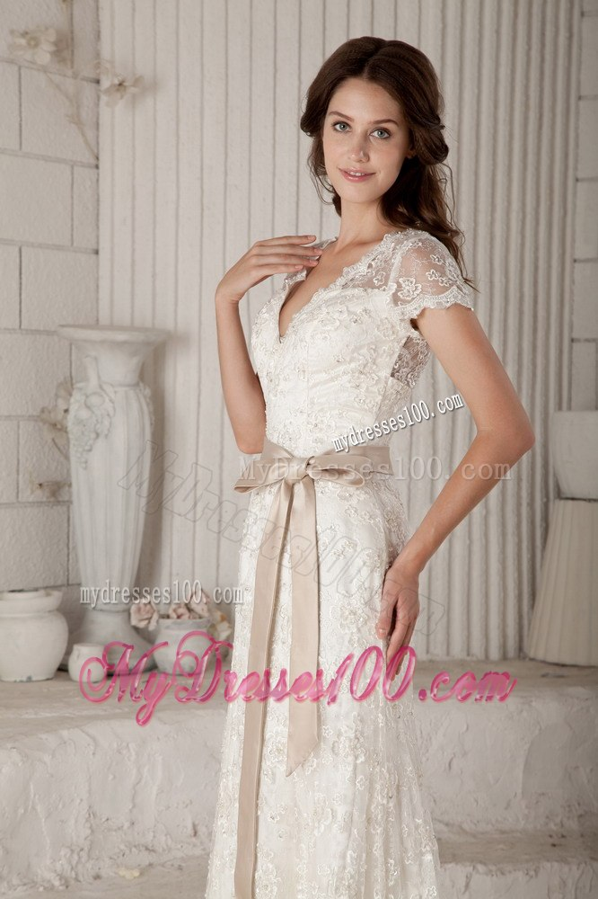 Pretty Column Sheath V Neck Bow Short Sleeves Wedding Dresses