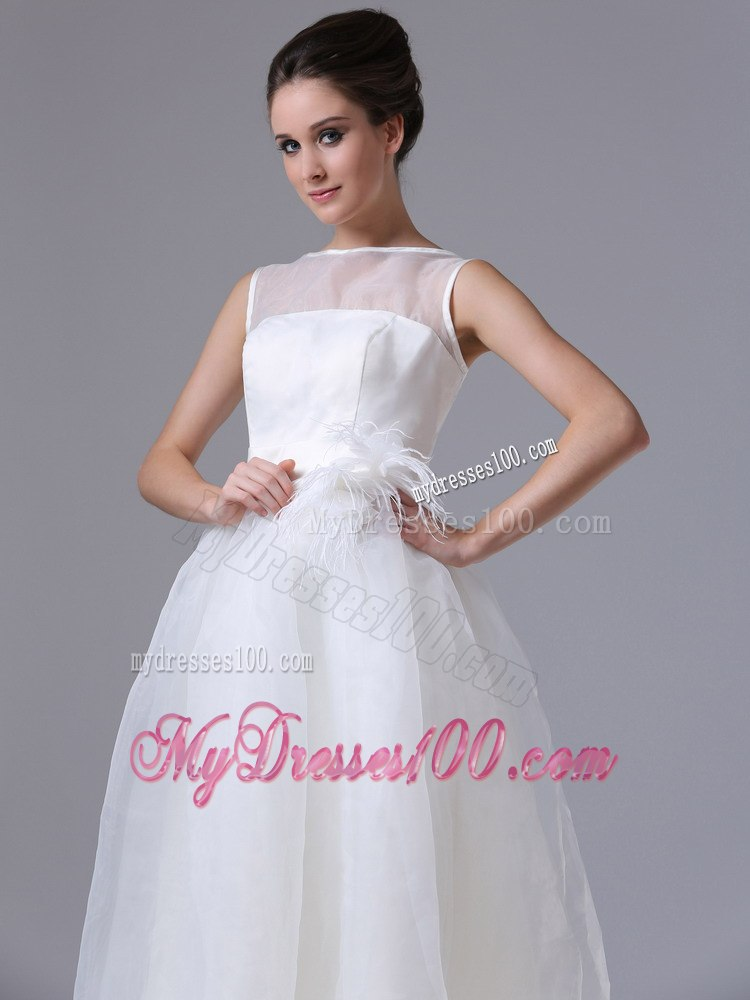 Summer simple bateau tea length beach wedding dress with for Simple tea length wedding dresses