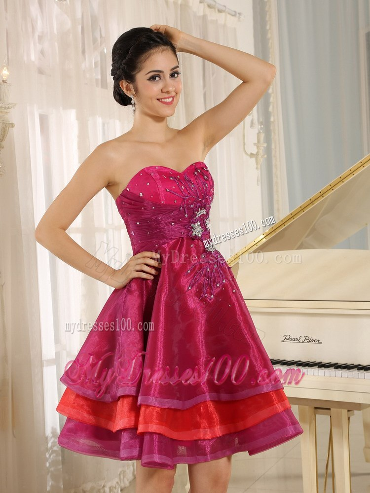 Multi-color Sweetheart Short Cocktail Dress For Sweet 16 Prom Beaded