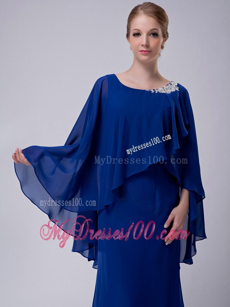 Royal blue bateau neck butterfly sleeves mother bride dress