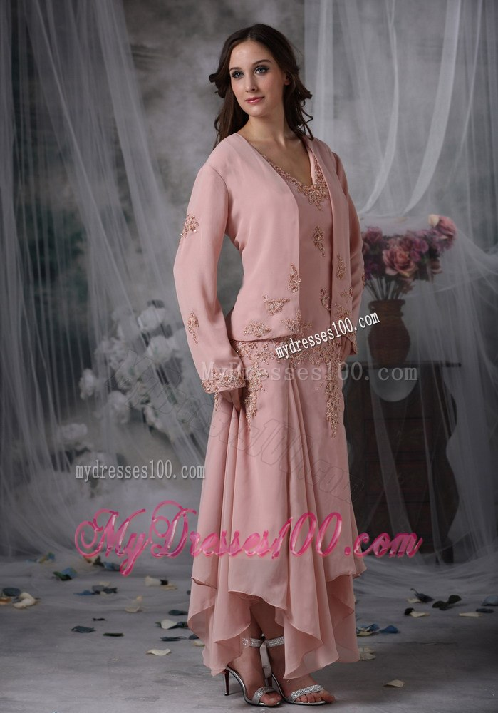 Pink Chiffon Tea Length Mother of Bride Dress