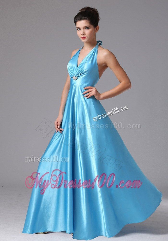 Stylish Custom Made Baby Blue Halter 2013 Prom Dress In ...