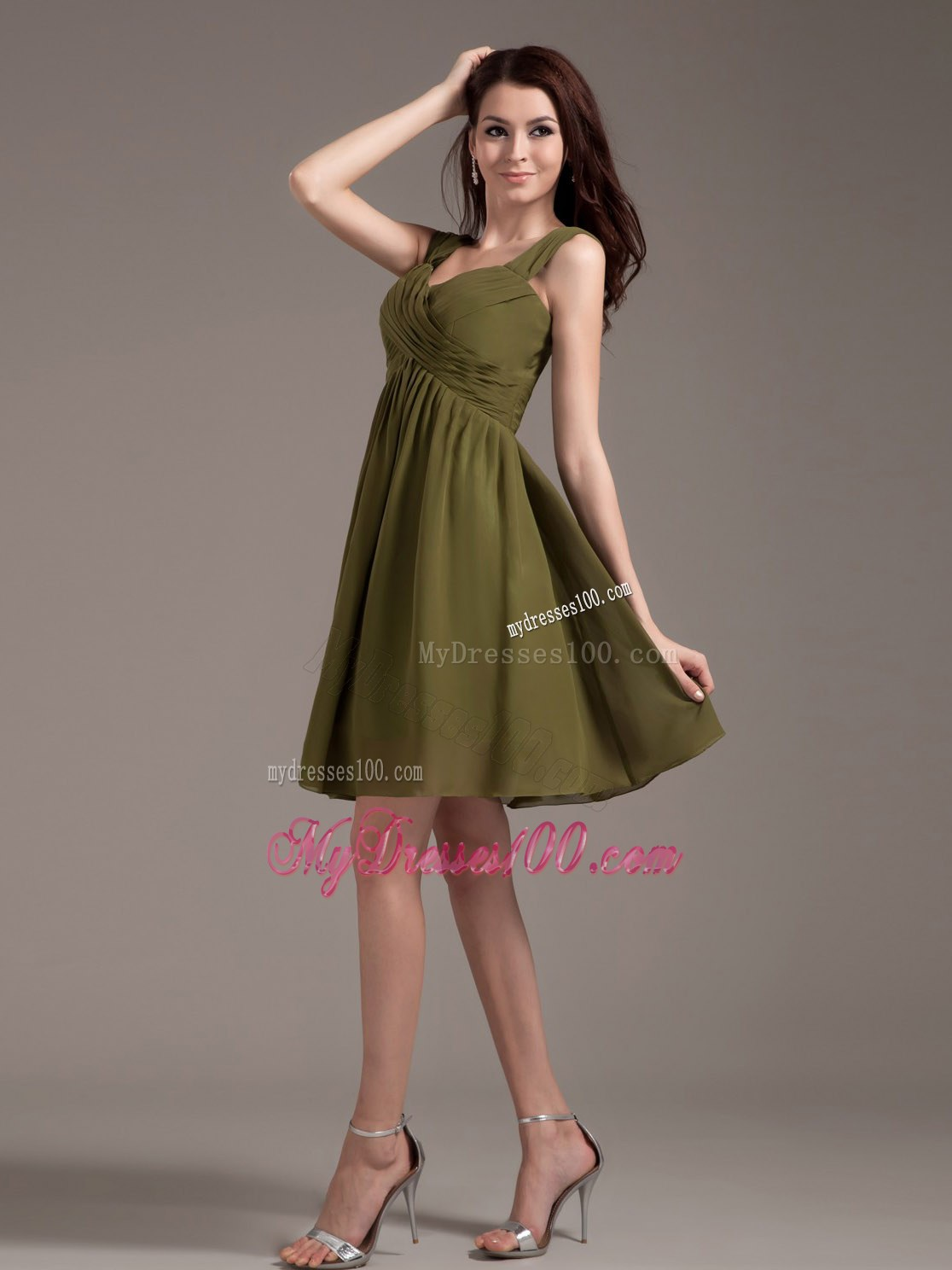 Olive green ruched chiffon knee length bridesmaid dress straps olive green ruched chiffon knee length bridesmaid dress ombrellifo Images