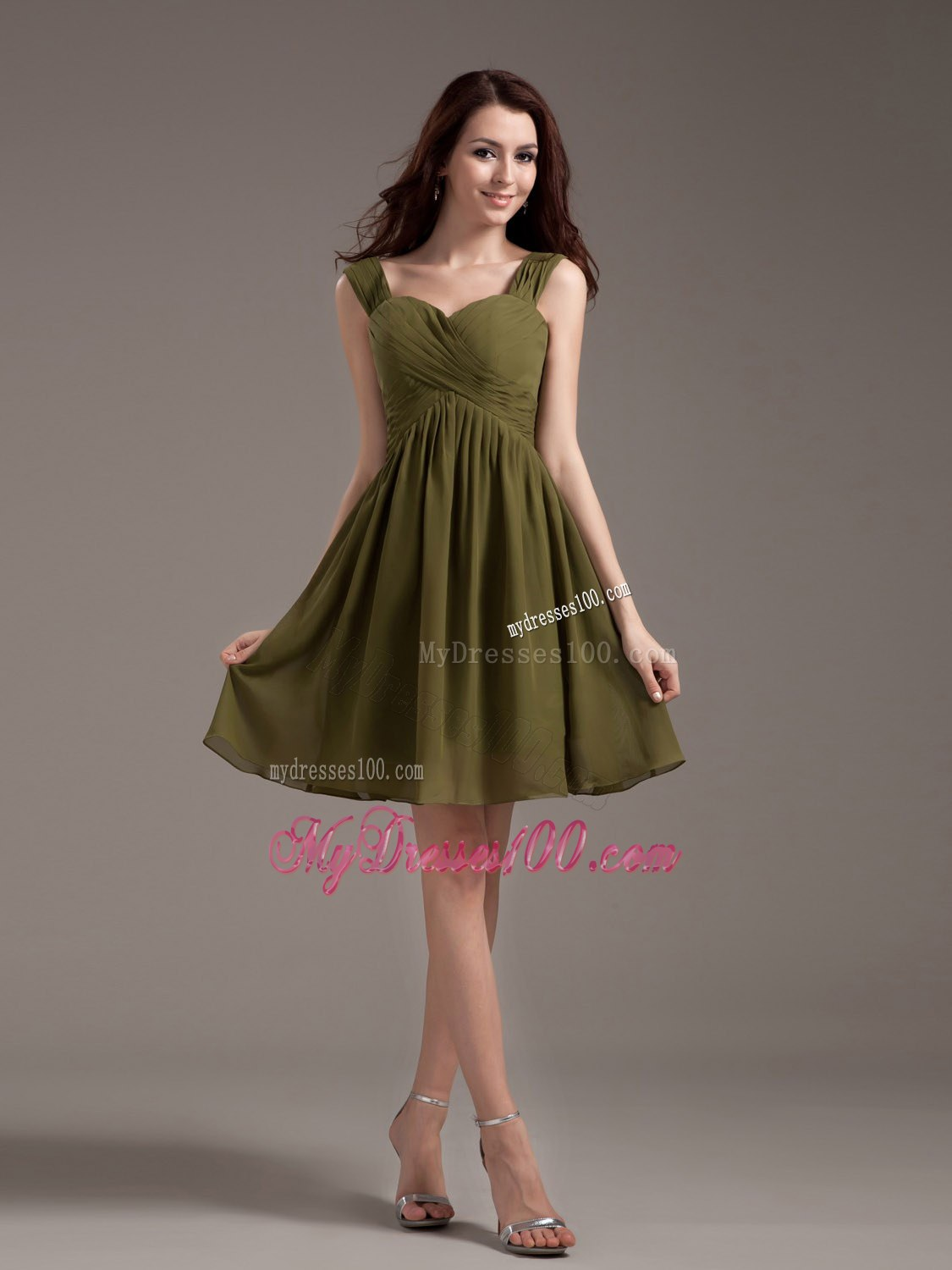 Olive Green Ruched Chiffon Knee-length Bridesmaid Dress