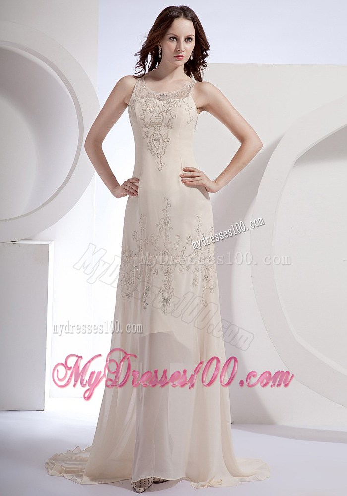 Champagne Beading Scoop Brush Train 2013 Foraml Evening Dresses