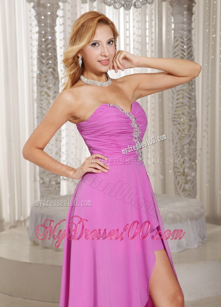 High-low Homecoming Dress Lavender Sweetheart Appliques Ruched