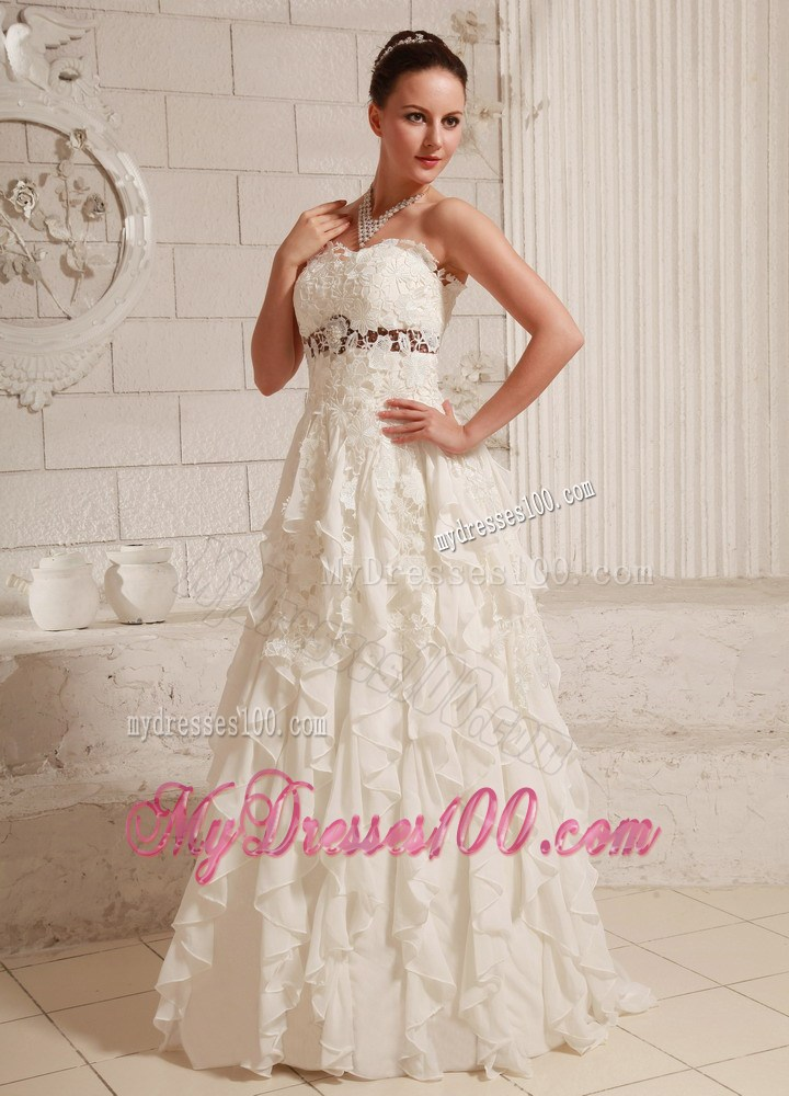 Dreamy champagne lace dress for wedding with ruffles brush for Cheap wedding dresses in florida