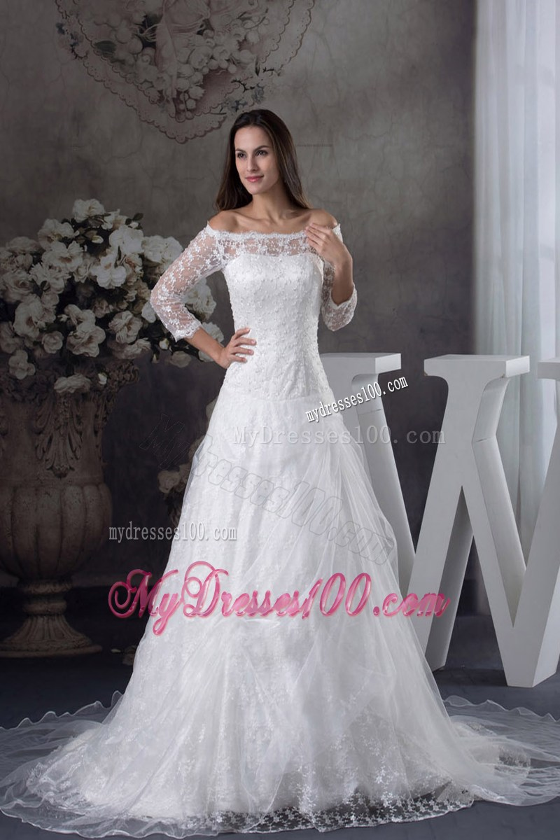 Off the shoulder 3 4 length sleeve lace white wedding dress for Lace shoulder wedding dress