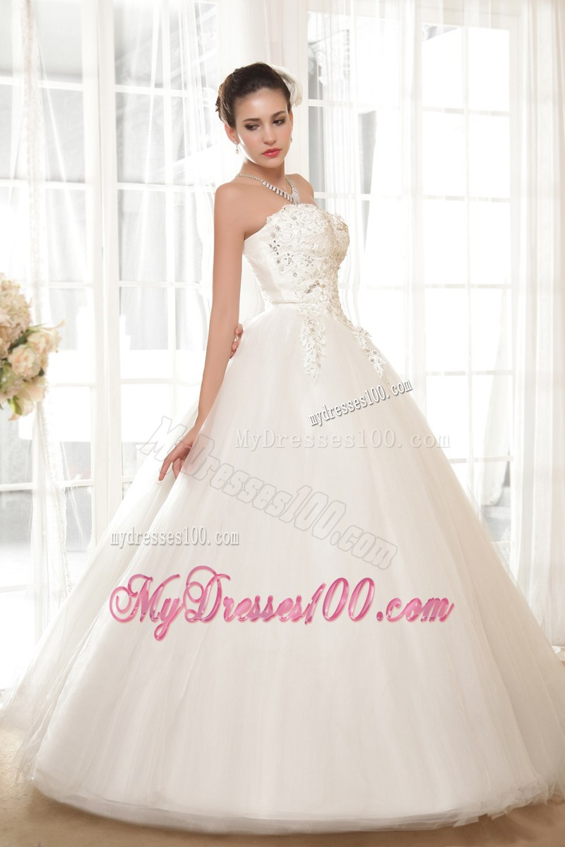 Diamonds And Appliques Decorated Wedding Dress With Big Puffy Skirt