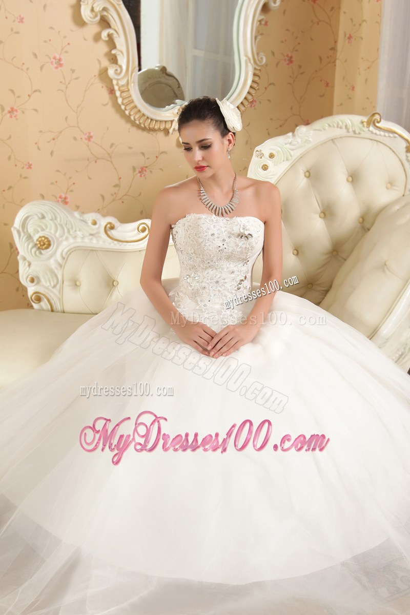 Diamonds and appliques decorated wedding dress with big for Puffy wedding dresses with diamonds