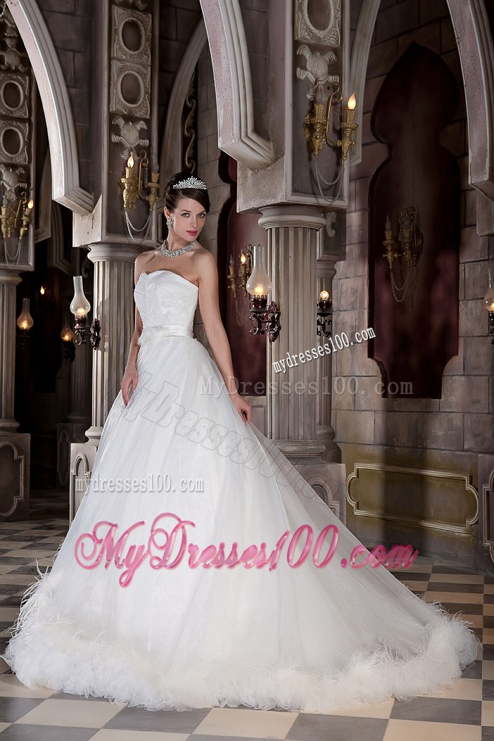 Ruching Sleeves Wedding Dress with Satin Sash and Two Tiers Feather Hemline