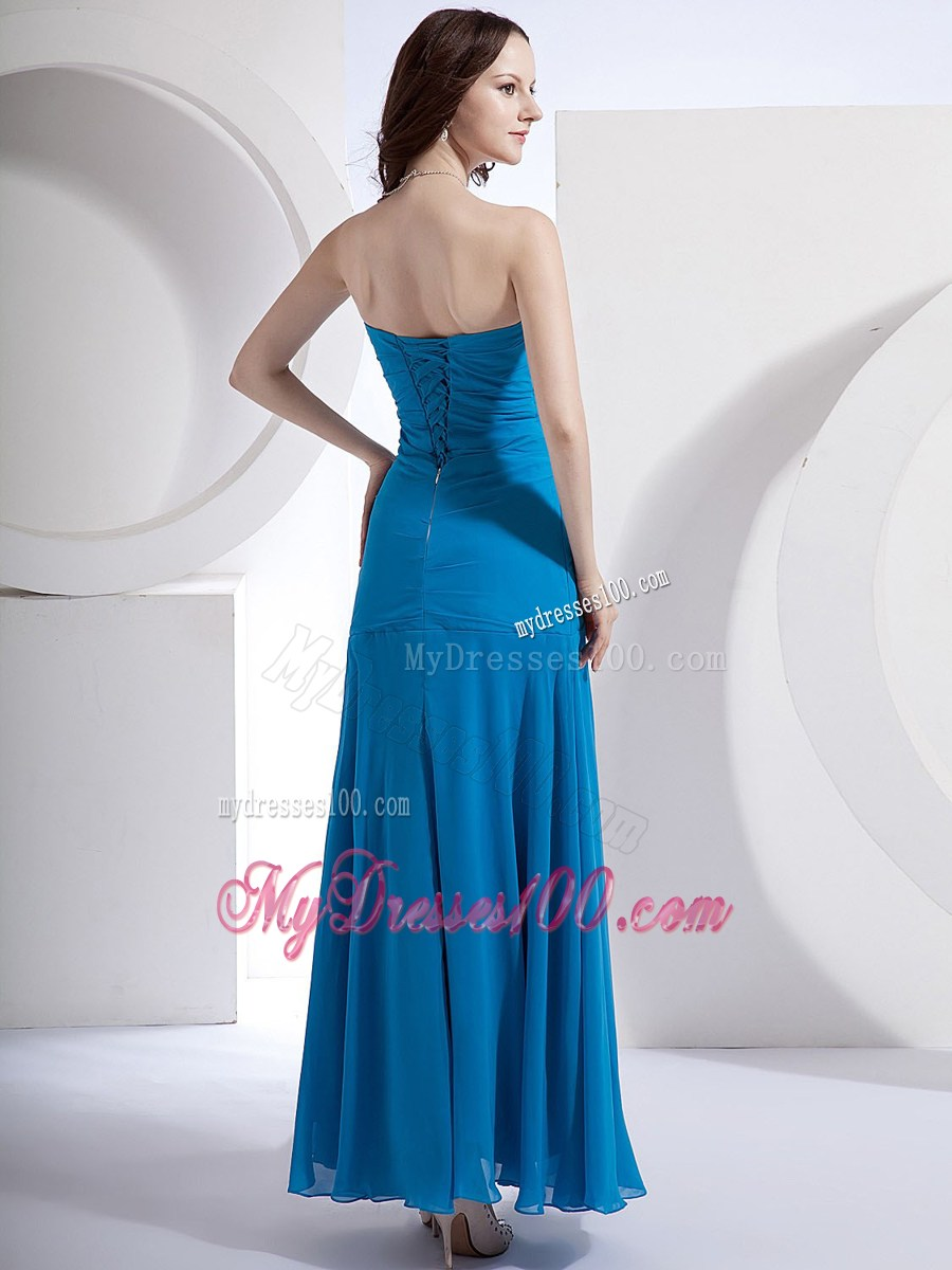 Exquisite Appliqued and Ruched Blue Chiffon Gowns for Prom of Ankle-length