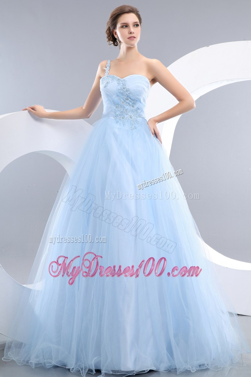 Appliques Accent One Shoulder And Waist Long Princess Baby