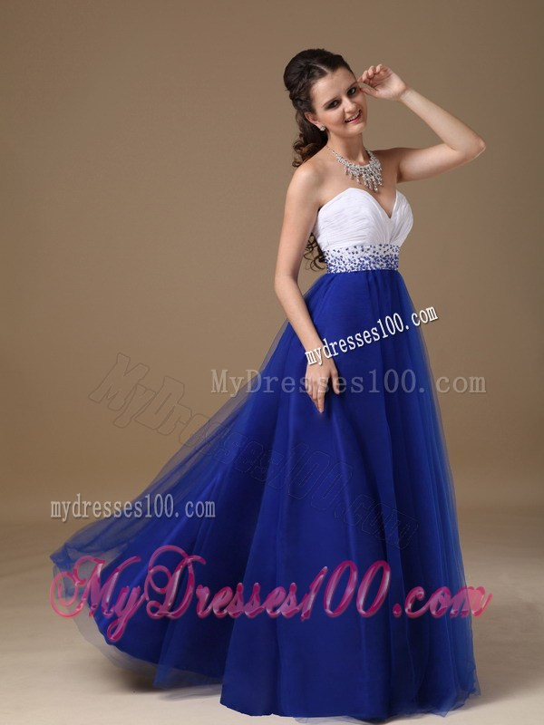 Floor-length Tulle Prom Dresses in White and Royal Blue