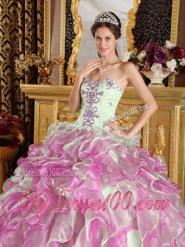 Apple Green and Pink Ruched Quinceanera Dresses with Embroidery
