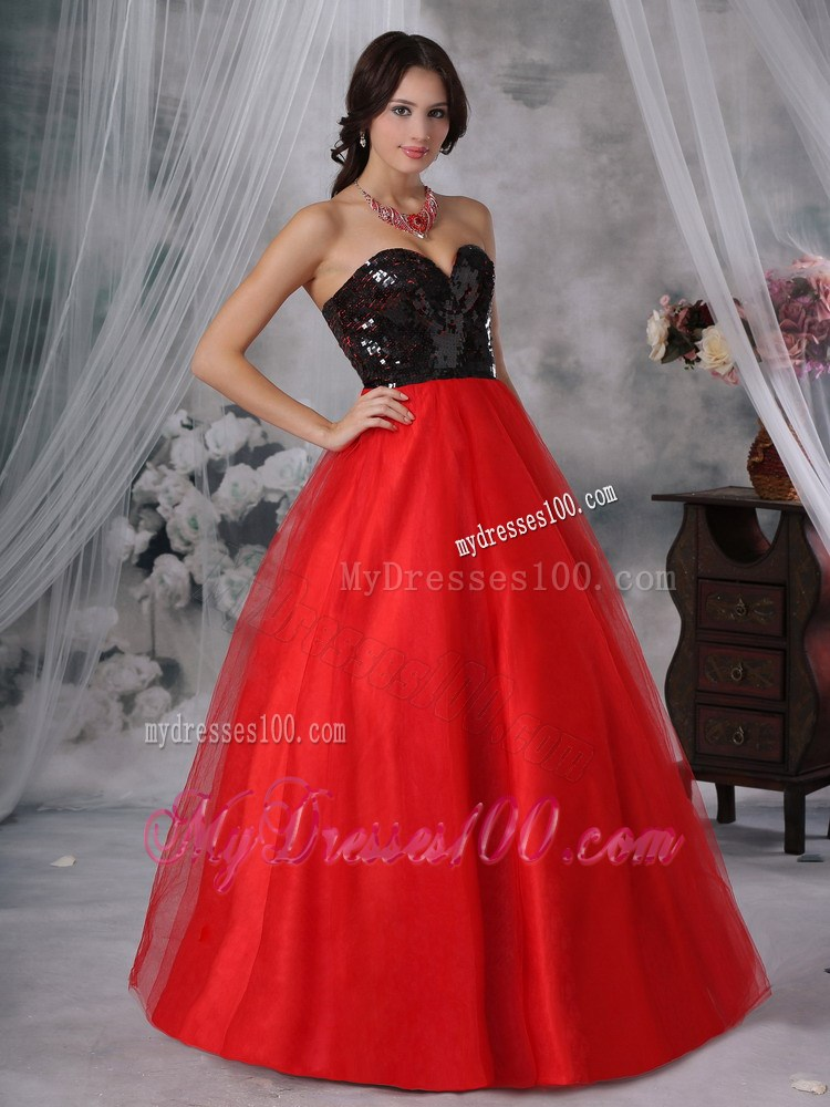Evening dress black and red