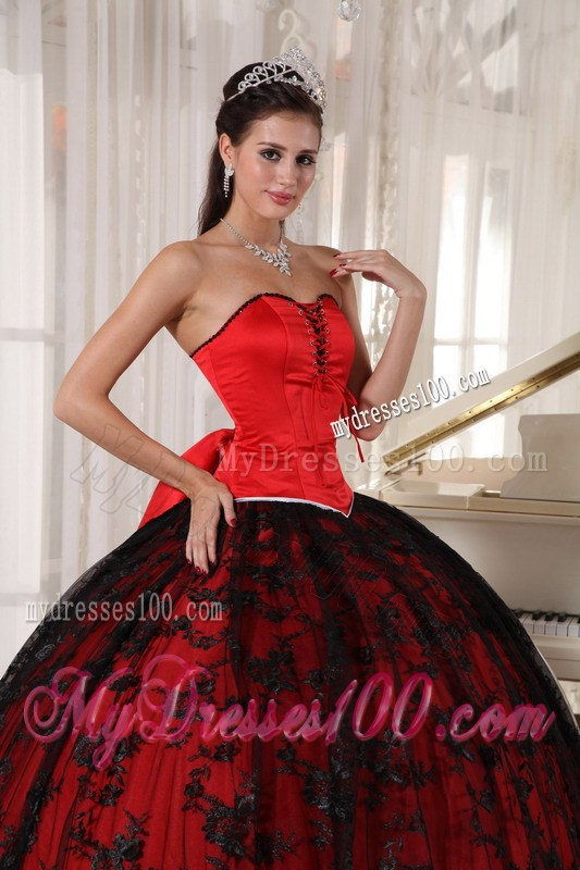 and Black Ball Gown Quinceanera Dresses with Big Bowknot Back