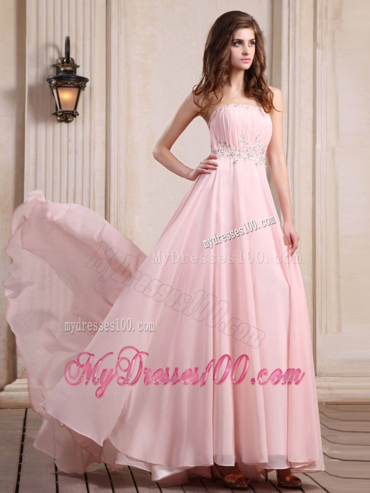 Strapless Baby Pink Brush Train Beaded Chiffon Prom Dress ...