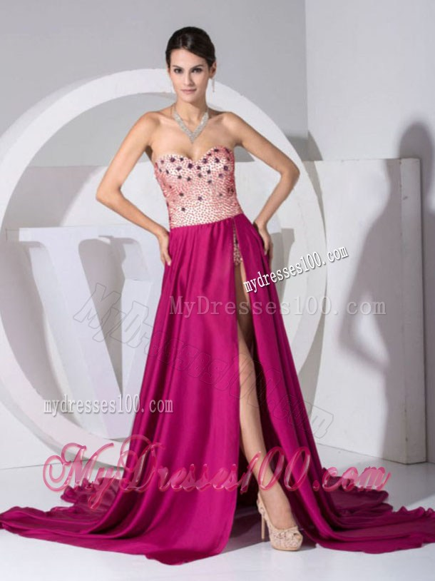 Beading Sweetheart High Slit Brush Train Fuchsia Pageant Dresses 2013