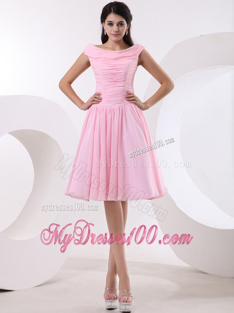 Simple Bateau Princess Baby Pink Party Dresses With Ruched
