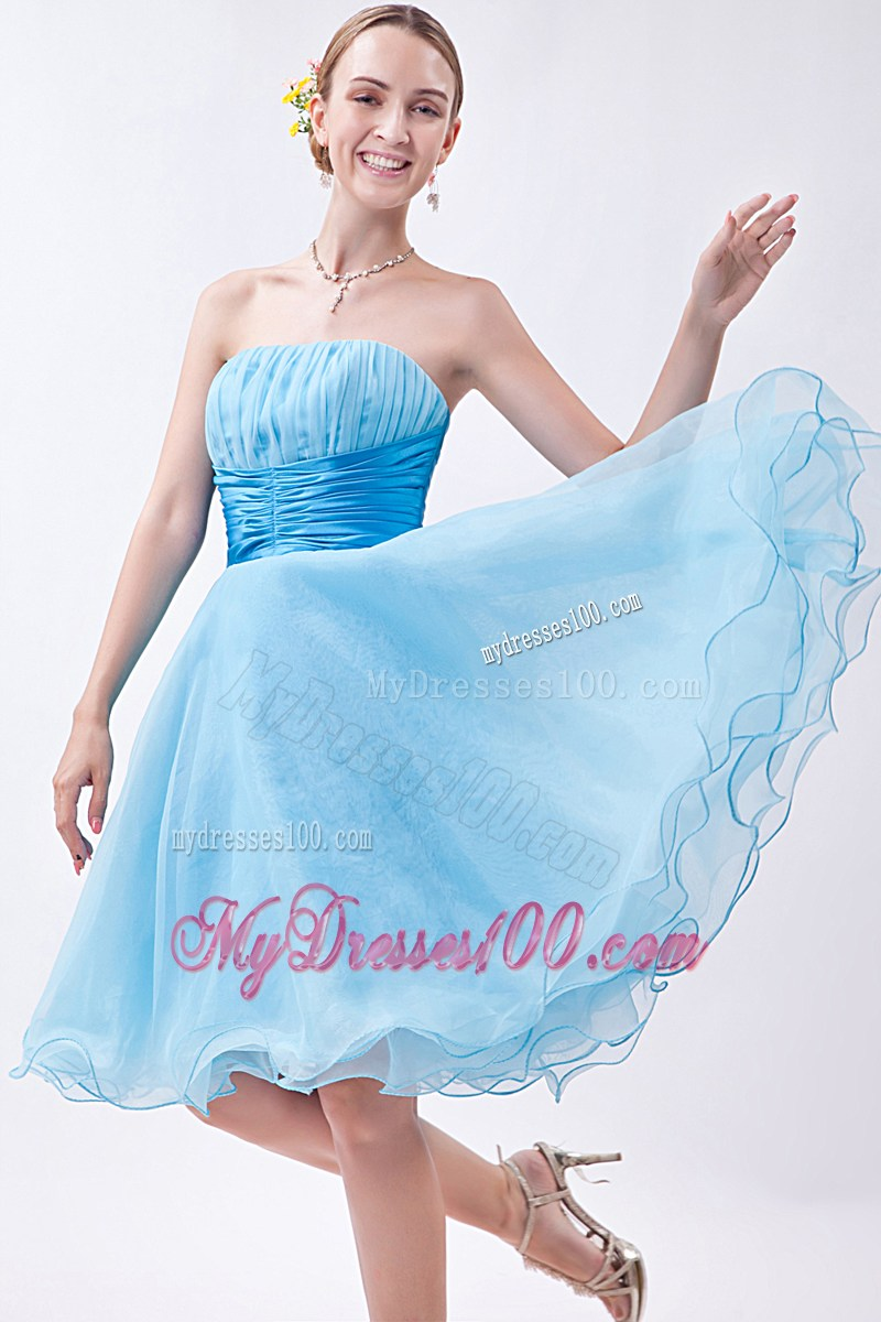 2013 Baby Blue Strapless Knee-length Ruched Party Dresses