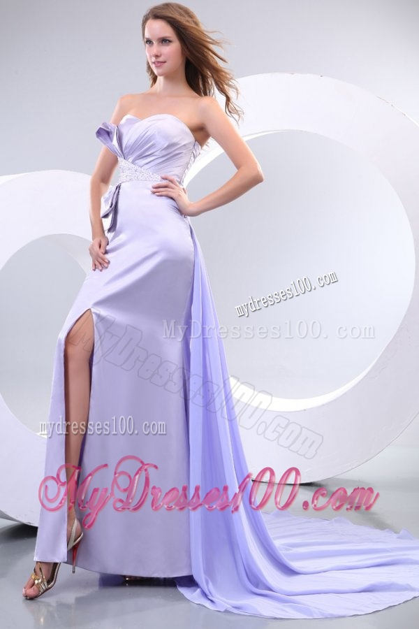 Popular Sweetheart Court Train Elastic Woven Satin Evening Dresses with Beading