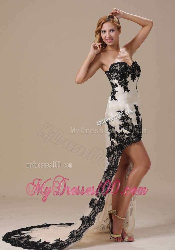 Black and White Short Lace Dresses