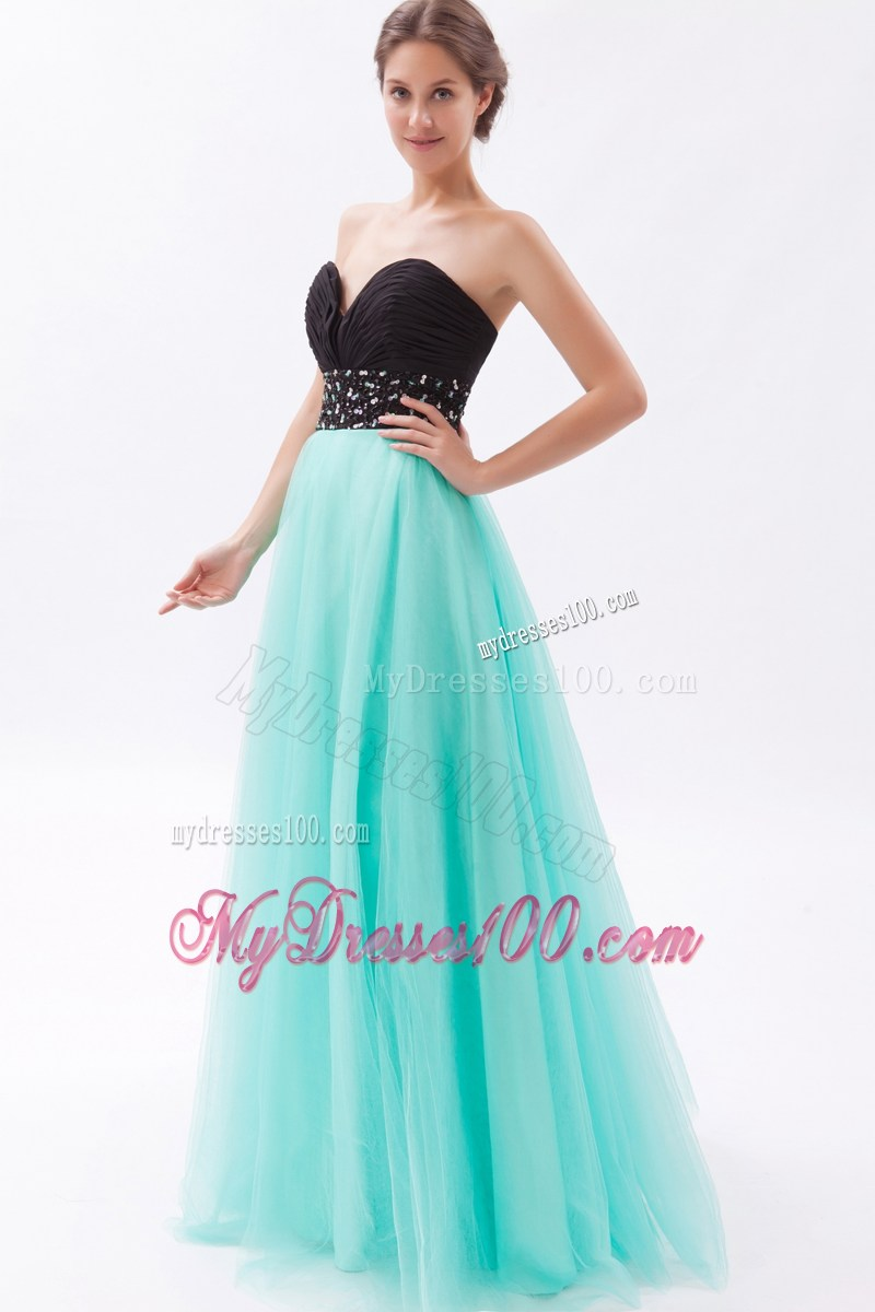 and Turquoise A-line Sweetheart Floor-length Beaded Prom Gown