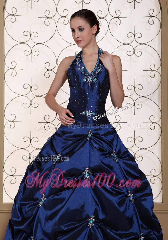 Halter Top Sweet sixteen dresses in Navy Blue with Pick-ups and Appliques