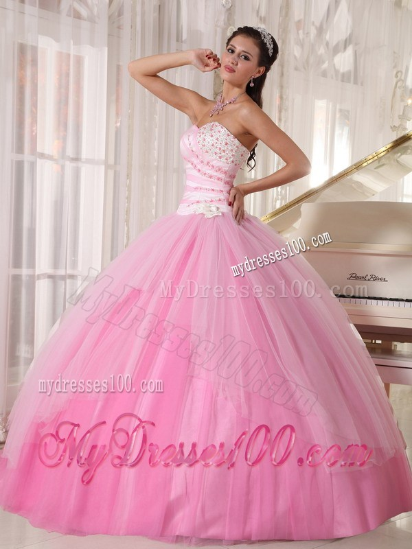 Pink Sweet 15 Dresses with Diamonds Ruffles and Big Puffy Skirt