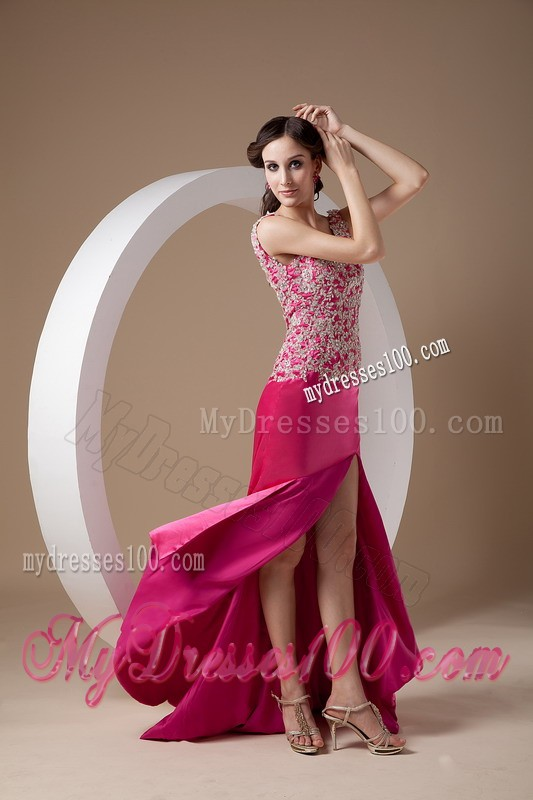 Straps Appliques and High Sit Decorated Fuchsia Prom Dresses with Back Out