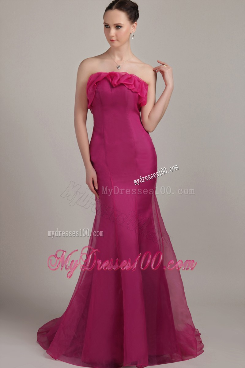 Sexy Mermaid Floor Length Ruffles Prom Party Dresses Zipper-up in Fashion