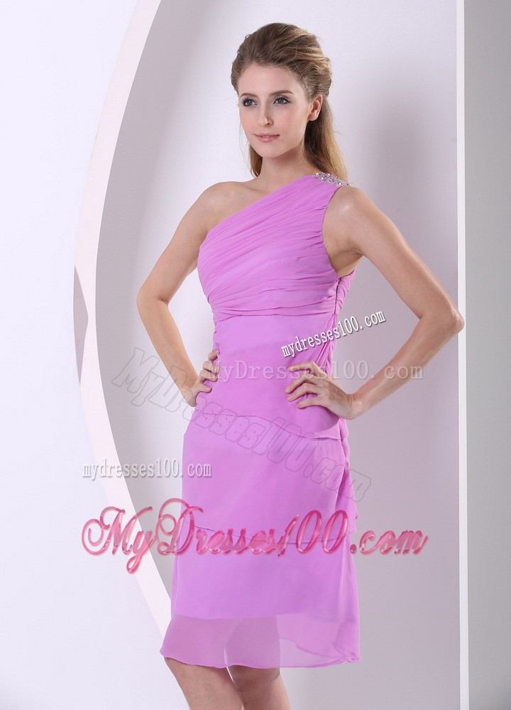 Beaded and Layers One Shoulder Lavender Knee-length