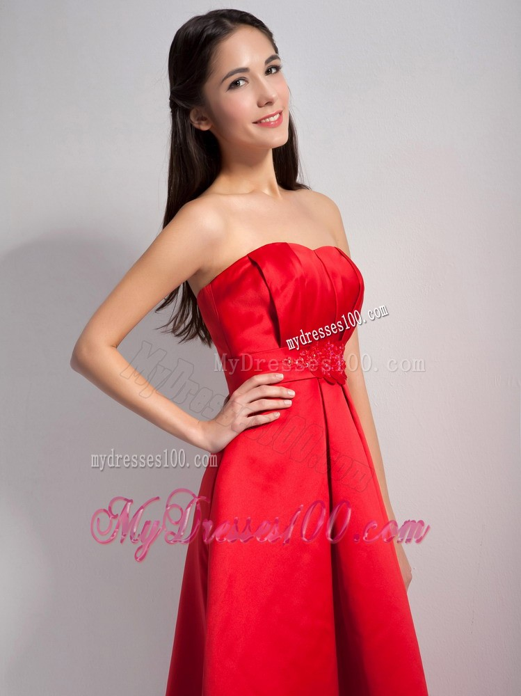 Red A-line Appliques High-low Bridesmaid Dress with Beading