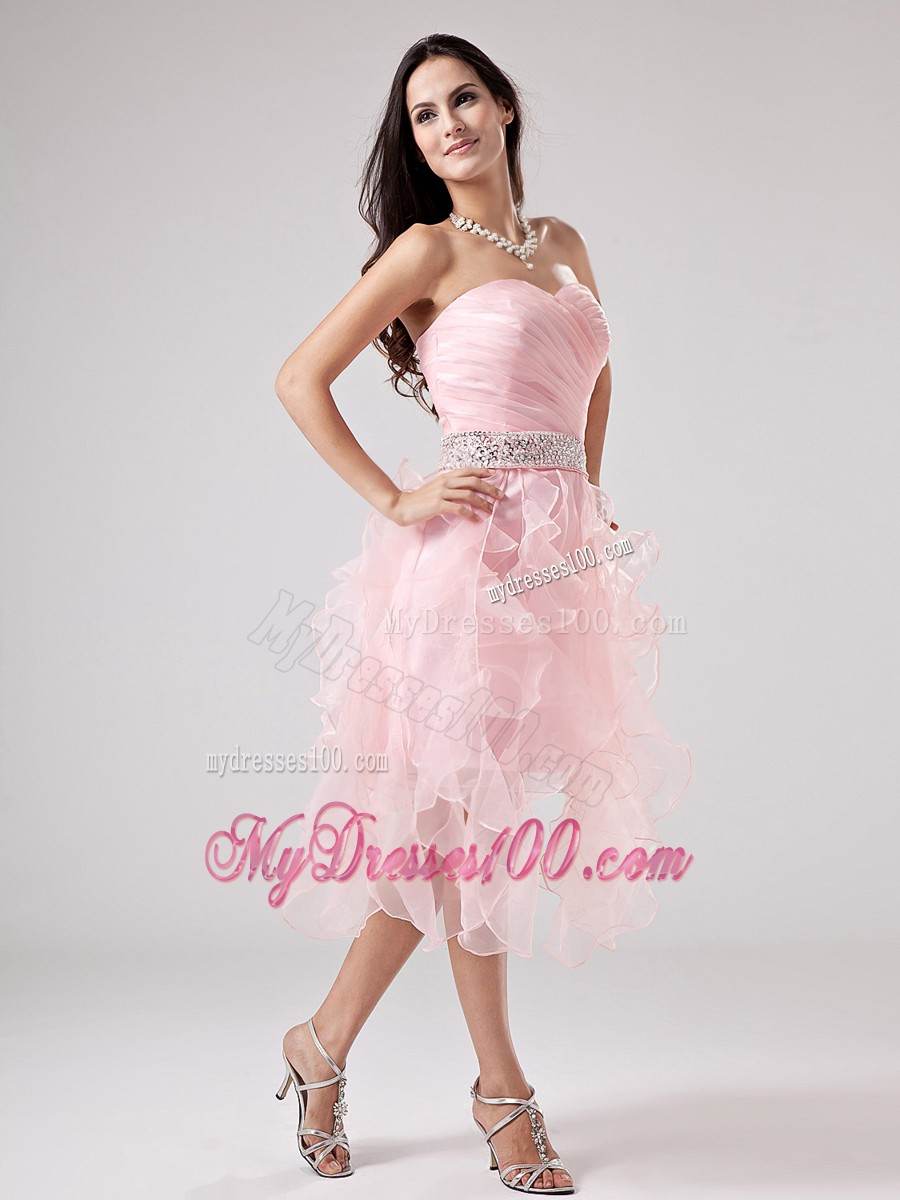 lovely baby pink cocktail dresses beaded sweetheart