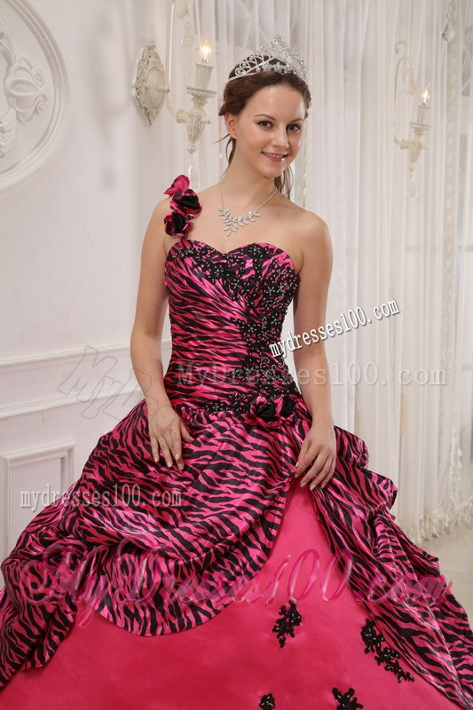 Pink Zebra with Flower One Shoulder Beaded Sweet 16 Dress