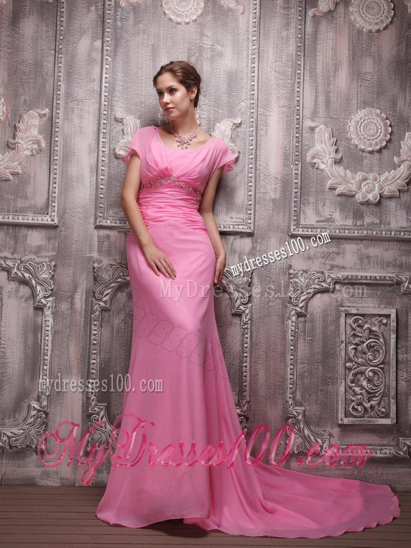 Rose Pink Empire V-neck Brush Train Beading Prom Celebrity Dress 2013