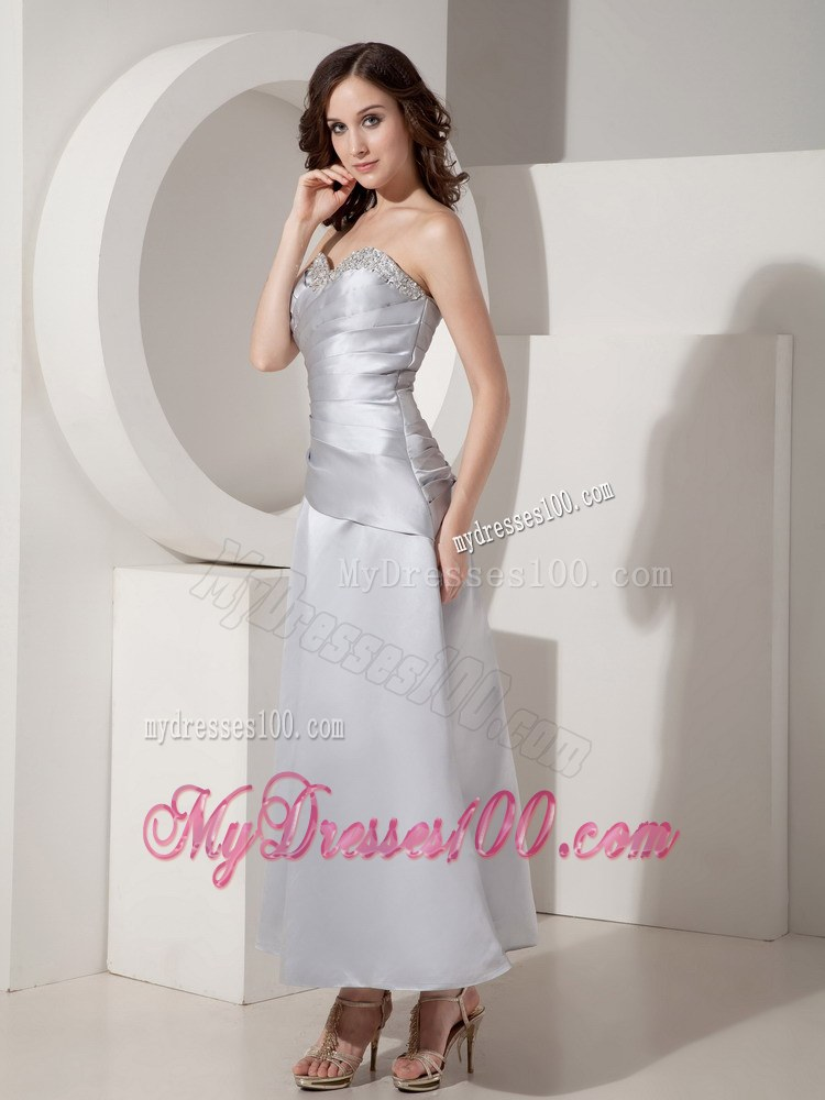 Gray princess sweetheart ankle length beading wedding for Grey dress wedding guest