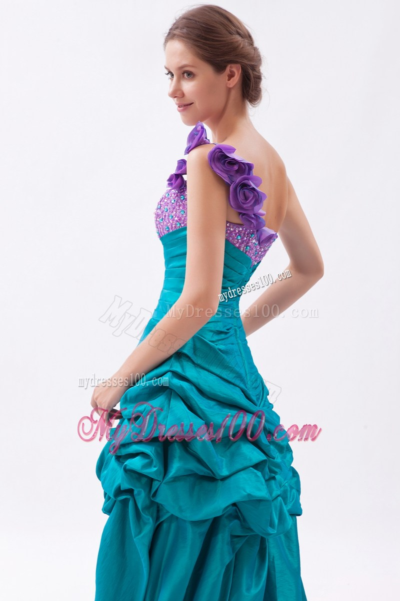 ups Flowery Asymmetrical Prom Gown in Teal and Lavender
